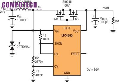 主页 技术&应用  图 5 显示一个测试电路,该电路在过压情况下产生暂态